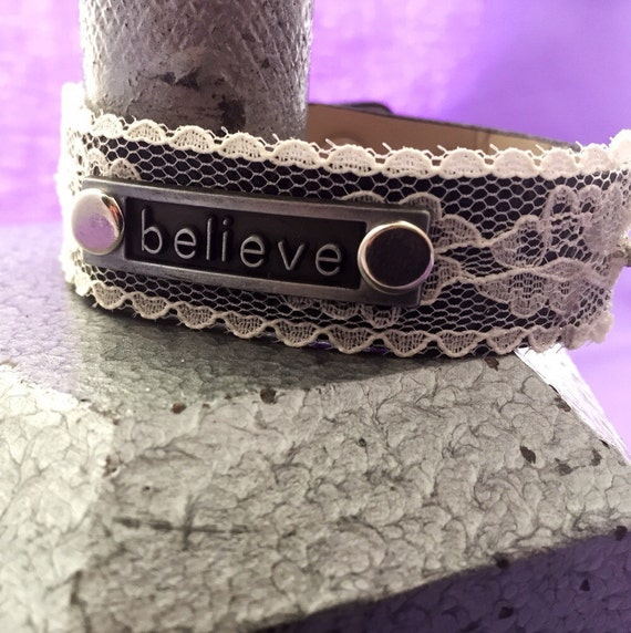 BELIEVE Charm Bracelet, Motivational CrossFit Gift, Leather & Lace Cuff, Sports Jewelry, Gifts for Women, Inspirational Jewelry, Word Charms