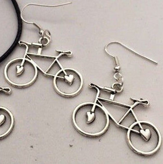 Bicycle Earrings, Cycling Jewelry, Cyclist Gifts, Athlete Charms Gifts, Team Sports Jewelry, Silver Bronze Gold Jewelry, Biker Coach Gifts