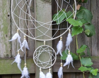 Large Dreamcatcher, White Boho Dreamcatcher, Traditional Style Large Wall Decor