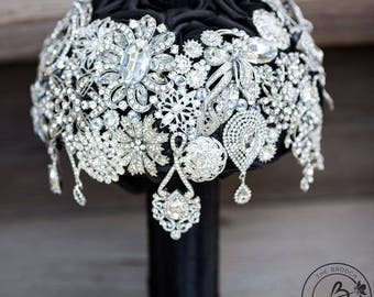 Ready to ship Cascading brooch bouquet, silver brooch wedding bouquet, black and silver brooch wedding bouquet, black roses bridal bouquet