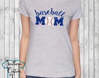 Glitter Baseball Mom Shirt, Glitter Baseball Mom T-Shirt, Baseball Mom Bling