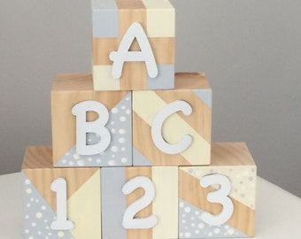 ABC Blocks, Wooden Blocks, Baby Blocks, Wooden Toys, Handpainted Wooden Toys, Nursery Decor, Handmade blocks, ABC blocks