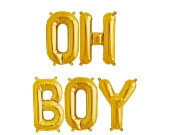 16 inch OH BOY Balloons, Gold  or Silver, Mylar Letter Balloons, Baby Shower, Photo Prop