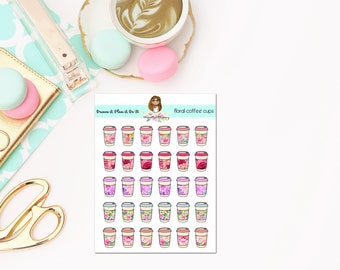 Floral Coffee Planner Stickers