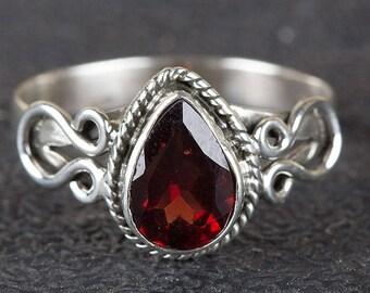 Garnet Ring, Pure 925 Sterling Silver Ring, January Birthstone Ring, Pear Shape Ring, Red Garnet Ring, Statement Ring, Boho Ring, Gift 4 Her
