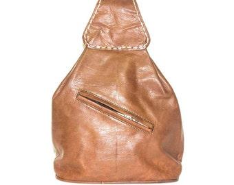 Moroccan Convertible Mini Backpack | Natural Tan Brown