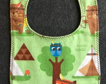 Fox and Owl Flannel Bib with Snap Fastener
