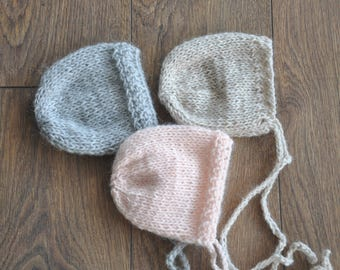 Newborn Bonnets, Alpaka Bonnets, Pink, Grey, Beige Bonnet, Baby Hats, knit bonnets,  Photo Props, Photography Prop