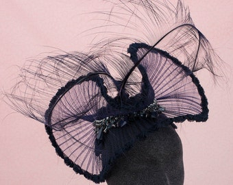 Navy Fascinator , Couture Millinery,  Melbourne Cup, Spring Racing Carnival, Australian Milliner,