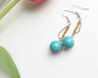 Boho Turquoise Earrings, Turquoise Jewelry, Beaded Earrings, December Birthstone, Birthstone Earrings, Clip On Earrings, Birthday Gift