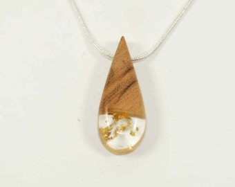 Necklace-pendant wood-olivier - Inclusion leaves of gold-drop of water-calendar-Celtic unique shape