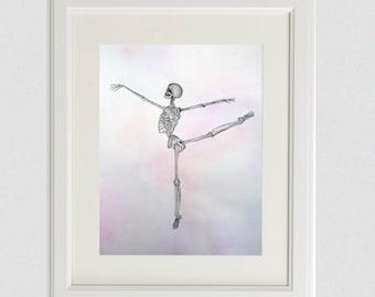 Ballerina Gift | Painting | Ballet Dancer | Anatomy Art | Watercolor | Choreography | Arabesque | Dance | Skeleton | Ballet Position