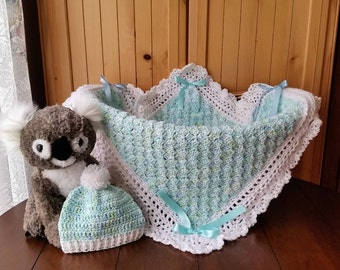 crochet baby blanket set, baby boy blanket and hat set, baby shower gift set