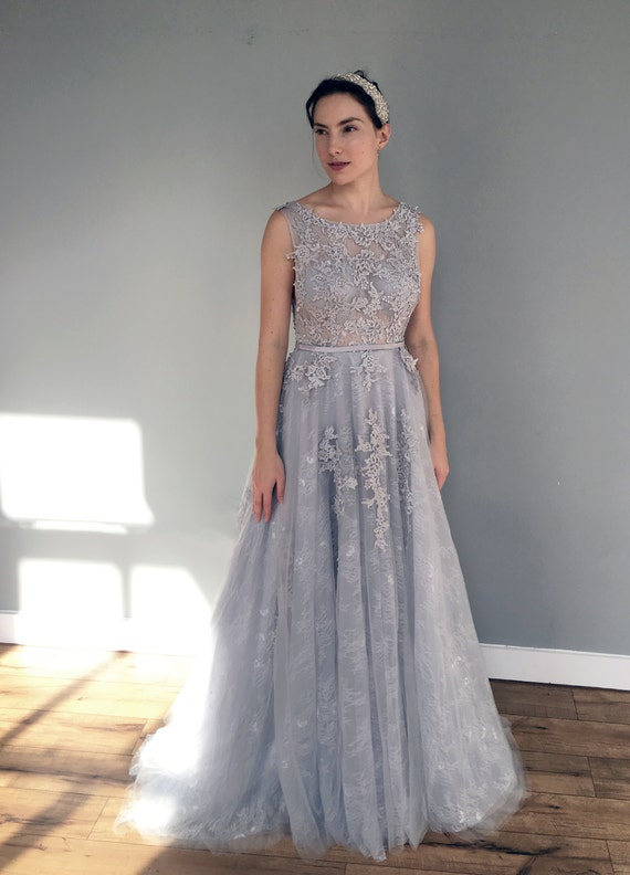 Gray blue lace wedding dress for Gray lace wedding dress