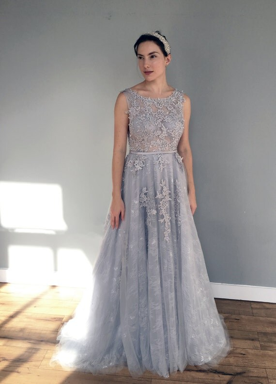 Gray Blue Lace Wedding Dress