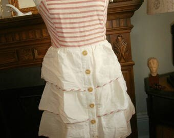 Ivory Red Striped Tiered Linen Strapless Dress