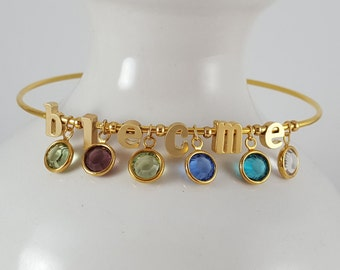 Build Your Own | Bangle Bracelet | Birthstone | Mother | Mom | Grandma | Gift | Letter Charm | Initial Charm | Mother's Day | Birthstones
