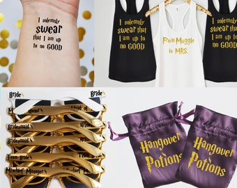 El Pack de despedida de soltera Super Ultimate de Harry Potter, camisetas de Harry Potter, tatuajes de Harry Potter, Harry Potter gafas de sol, resaca Kits