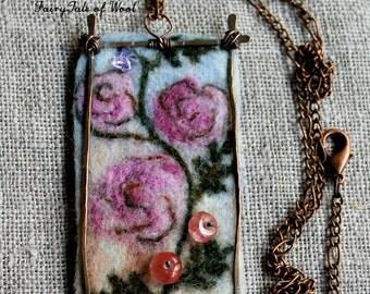 Felted pendant, Felt necklace, Felt accessory,The landscape pendant a Bulgarian rose, Boho style, Hand-made