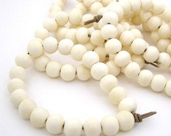 White Ox Bone Beads - 11x10mm bone beads - 2mm Large hole beads Ethnic Boho Beads Jewelry Supplies