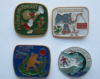 Childhood badges, Fairy badges, fairy tale, vintage badges, old badges, soviet badges, Badges, pins, cartoon badges, animal badges