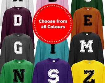 Stitched Alphabet Initial Printed Sweatshirt | Unisex Adult | Select Letter Required In Note From Buyer
