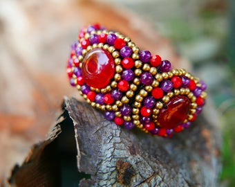Red Purple Gold Art Beaded Jewelery Bangle braided with Rope I Hand Crafted Fantasy Beads Accessories