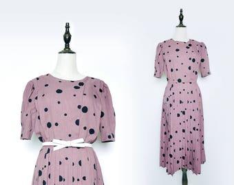 Purple Vintage Women Pleated Dress Black Polka Dot 1980s Short Sleeves Size M