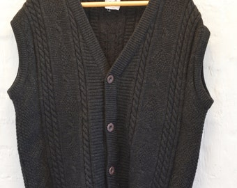 Vintage Mens Button Front Cable Knit Sweater Vest, 1980s 1990s,  Grey 100% Wool , Size Large