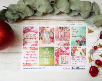 Motivational quote, Erin Condren vertical, inspiration quotes, stickers planner, eclp stickers, floral sticker, life is beautiful,  CH41