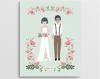 First Anniversary Gift - Wedding Portrait - Couple Portrait - Wedding Gift - Couple Illustration - Semi Custom Portrait - Bridal Shower Gift