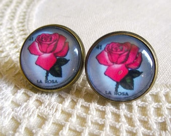 La Rosa- Loteria Rose Stud Earrings