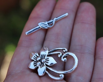 10 sets Toggle Clasps Flower Antique Silver tone 30mm x20mm,antique silver clasp, flower clasp, toggle clasp, flower toggle clasp B00030H