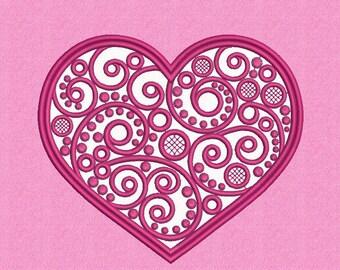 Heart applique design, Love applique design, Valentines embroidery, Machine embroidery design, Instant download
