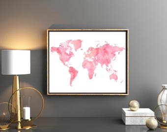Blush world map etsy blush pink world map decor watercolor world map download world map wall art world map printable gumiabroncs Images