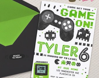 Video Game Party invitation Video Game Birthday invitations Printable Game truck party invitations video game green black