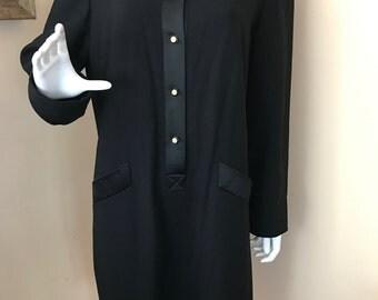 Vintage 80s Evan Picone Black Dress w/Satin Collar / Size 14W
