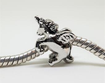Silver Unicorn Charm for European Bracelets (item 069)