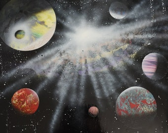 Spray Paint Art, Space Art, Original Speed Painting, Wall Art, Planet Painting, Planet Art, Space Painting, Galaxy Art, Wall Art, Spray Art