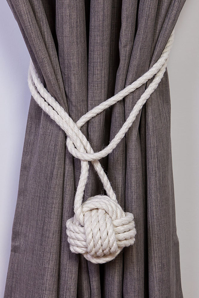 cotton rope monkey knot tie backs nautical curtain