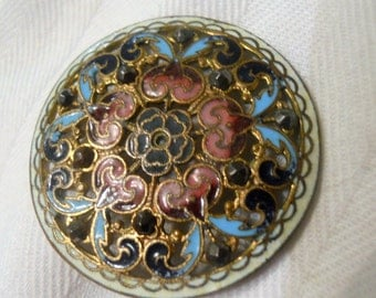 Antique French Champleve Enamel with Steel Rivet Button ~ 1  1/4 inch