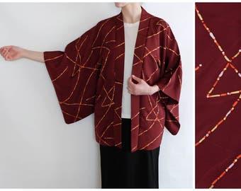 Japanese Silk Kimono - Vintage Burgundy Kimono - Haori - Kimono Cardigan - Authentic Japanese Vintage Kimono - Silk Haori - Bohemian Kimono