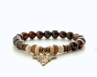 Bullhead Beads Bracelet, Mens Brown Beads Bracelet, Womens Gem Stone Bracelet, Stacking Yoga Bracelet, Mens Gift, Unique gift for her