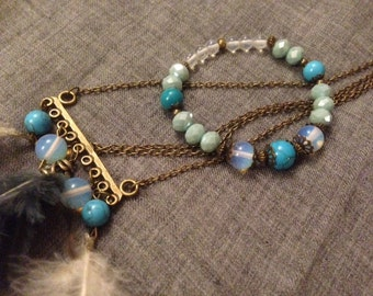 Adornment * good night *, feathers, Opal, turquoise howlite