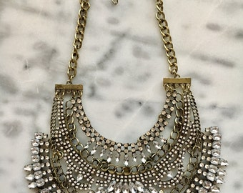 VENUS  Crystal Bib Statement Collar Necklace