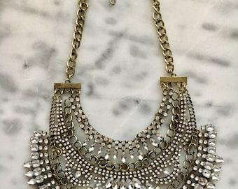 VENUS  Crystal Bib Statement Collar Necklace