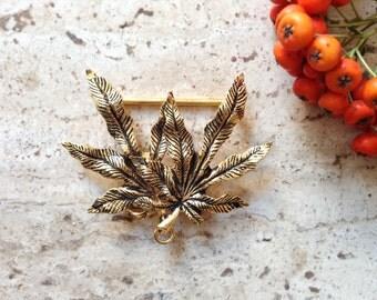 Vintage leaf buckle, gold metal buckle