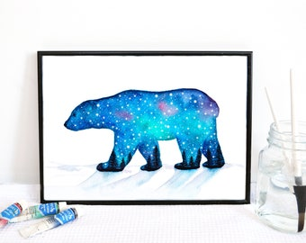 Polar Bear Watercolour Painting // Winter Snow Print // Arctic Animal Illustration