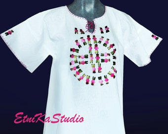 Mexican handmade embroidered folk BOHO white womans ethnic blouse top