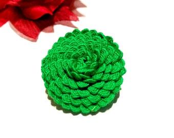 Green Brooch, Fabric Brooch, Flower Brooch, Fabric Pin, Fashionable Brooch, Clothespin, Green Complement, Green Dress, Elegant Brooch,